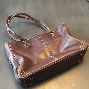 J.Crew brown leather, middle zip section, tote.
